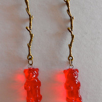 Red Gummy Bear Earrings,Red bear and Antique bronze Twig