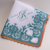 Personalized wedding handkerchief, printed lace handkerchief, customized wedding gift, teal and copper, mother of the bride handkerchief