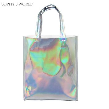 Luxury Brand Women Shoulder Bag Hologram Leather TopHandle Bags Silver Ladies Shopper Bag Large Capacity Tote Handbags Beach Bag