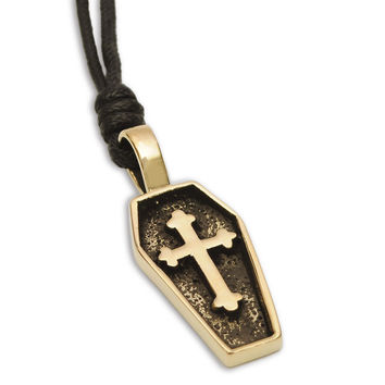 Coffin Cross Casket Tomb Handmade Brass Necklace Pendant Jewelry