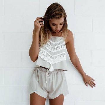 Fashionable tassel chinese-style chest covering shorts two-piece outfit