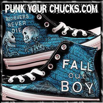 fall out boy custom hand painted converse sneakers