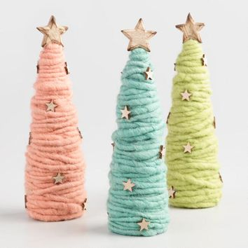 Wool Cone Tabletop Trees Set of 3
