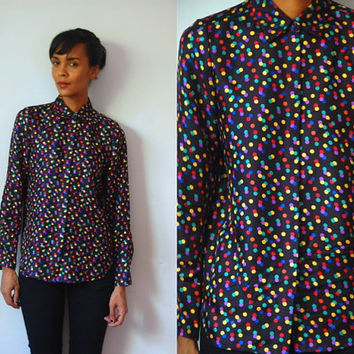 Vtg Multicolor Silk Polka Dots LS Button Up Shirt