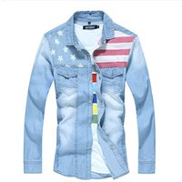 Men's Slim Fit American Flag Long Sleeve Denim Shirt