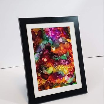 Alcohol Ink on Yupo Paper, Abstract Wall Art, Rainbow, 5x7 Wall Art, Art on Yupo Paper, 717Art, Ink Painting, Yupo Paper Art