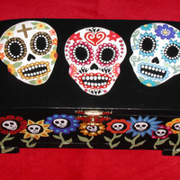 Day of the Dead Sugar Skull & Flowers Handpainted Wood Trinket Jewelry Box Made To Order