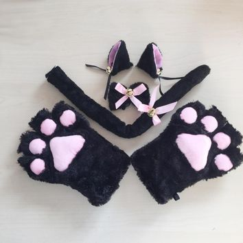 1Set 2017 New Anime Cosplay Costume Cat Ears Plush Paw Claw Gloves Tail Bow-tie Cute Sexy Women Party Christmas Halloween Decor