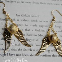All Gold Golden Snitch Earrings, Harry Potter Gold Earrings, Harry Potter Jewelry, Harry Potter Gift