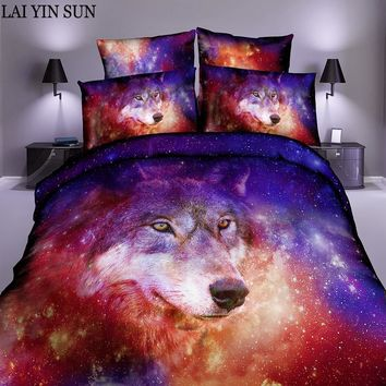 Lai Yin Sun Duvet cover Pillow cases 2/3pcs Set Bed Sheet Set with Many Latest Design Sugar Skull 3d Bedding Set Starry Wolf