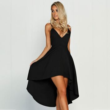 2017 summer new fashion sexy sling deep V-neck asymmetrical three-dimensional large dress  long section was thin party dre