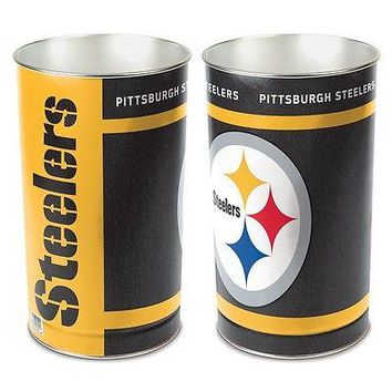 "PITTSBURGH STEELERS 15""X10.5"" TRASH CAN WASTEBASKET BRAND NEW WINCRAFT"