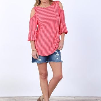 Cold Shoulder Ruffle Bell Sleeve Top | S-2X