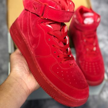 KUYOU N459 Nike Air Force 1 AF1 LV8 LTR High Suede Fashion Casual Skate Shoes Red