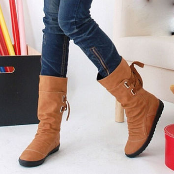 Women Winter Snow Boots Mid-Calf Solid Flats Winter PU Boots Women Warm Plush Boots Ladies Boots Plus Size 34-43 AA238