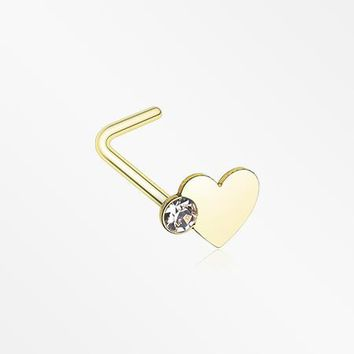 Golden Adorable Heart Sparkle L-Shaped Nose Ring