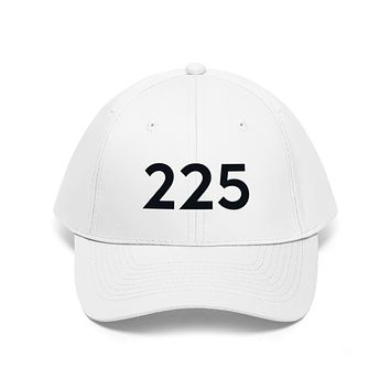 Louisiana 225 Area Code Embroidered Twill Hat BLACK