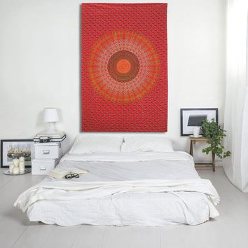 Red Mandala Peacock Print Tapestry Hippie Bohemian Bedspread Wall Hanging for Bedroom Living Room 80 X 60 inches Cotton Tapestry