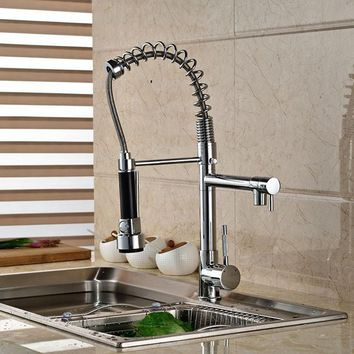 Chrome Finished Pull Out Spring Kitchen Faucet Swivel Spout