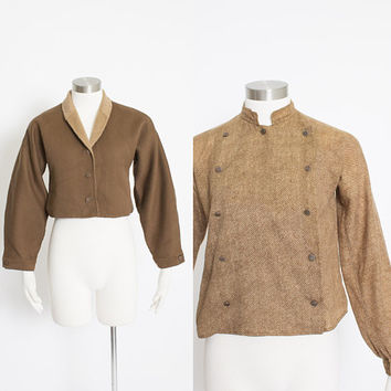 Vintage 1970s GEOFFREY BEENE Set - Wool Blouse & Fuzzy Jacket Military Style 70s - Small
