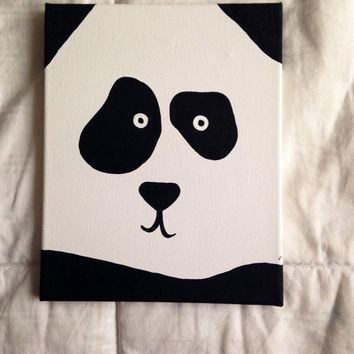 Canvas panda face painting 8x10