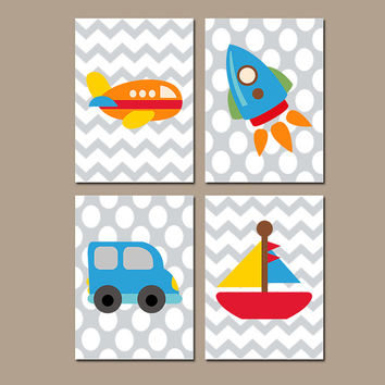 Transportation Wall Art Boy Nursery Airplane Rocket Truck Sailboat Boat Child Artwork Chevron Set of 4 Prints Boy Bedroom