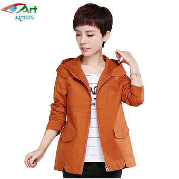 JQNZHNL 2017 New Spring Mid-aged Women Clothing Plus Size Hooded Casual Trenchcoats Solid Color Elegant Ladies Short Trench E113