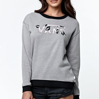 Vans - Eley Kishimoto Drop V Fleece Crew Sweatshirt - Womens Hoodie - E. Heather Grey