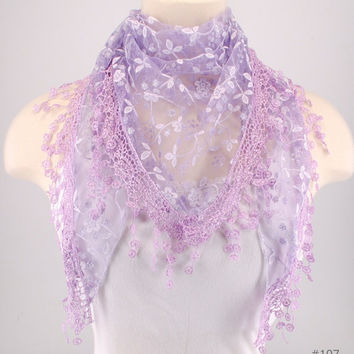 Lavender Purple Lace Fichu Metallic Silver Roses Scarf Shawl Cowl Triangle Sheer Fashion Lightweight Women Accessories by Creations by Terra