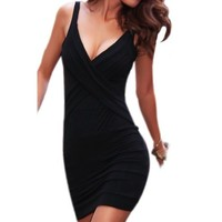 LOCOMO Lingerie Deep V Women Chemise Lycra Cocktail Mini Dress CMC183 BK Black