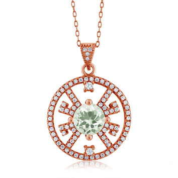 1.90 Ct Round Green Amethyst 18K Rose Gold Plated Silver Pendant