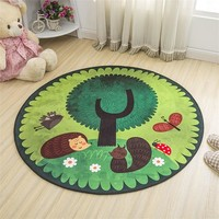 Lovely Cartoon Hedgehog Soft Round Decorative Carpet Floor Door Yoga Pad Baby Child Kid's Play Crawling Mat Hallway Area Rug