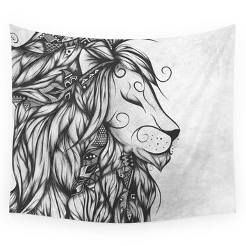 Society6 Poetic Lion B&W Wall Tapestry