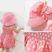 Baby clothing Kids Girl Dot Outfit Costume 3pcs Dress+Pants+Hat