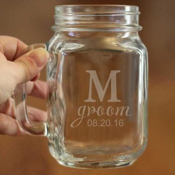 Modern Style Custom Initials & Dates of Glass Mashon Cups Couple Mason Jar Bottle Personalized Wedding Decorations Free Shipping