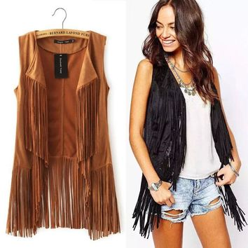 2017 autumn winter suede ethnic sleeveless tassels fringed vest cardigan black khaki Retro Suede Leather Vest Women Waistcoat
