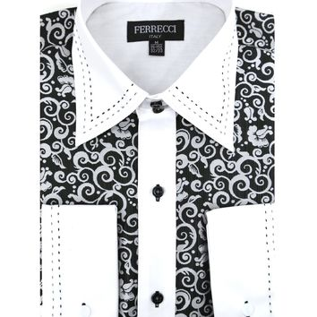 Ferrecci Men's Satine Hi-1006 Black & White Scroll Pattern Button Down Dress Shirt
