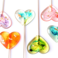 Marbleized Tie Dye  Psychedelic Heart Lollipops set of 8