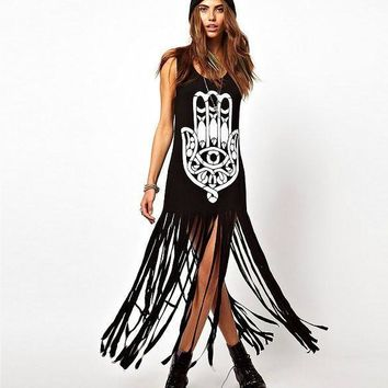 Women Summer High Street Tassel Long Black Cotton Casual Punk Dress Sleeveless Straight Hand Print Dresses Rock Party Vestido u2