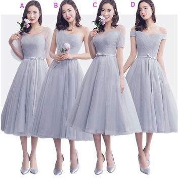 2017 New Real Silver Gray Short Tea Length Cheap Bridesmaid Dresses Mix and Match Pleats Tulle Country Wedding Party Gowns Sale