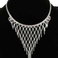 "12"" clear crystal fringe collar choker bib necklace bridal prom"