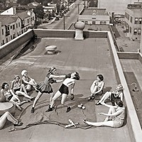 'Women Boxing On Roof' Photographic Print by megasheldon