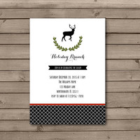 Reindeer Wreath Holiday Brunch Invitations in White