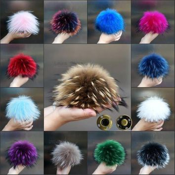 LAURASHOW 16-17cm Multicolor Real Raccoon Mink Fox Fur Ball 20 Colorful Fur Winter Pom