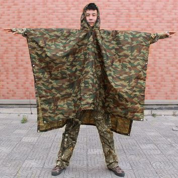 Camouflage Outdoor Hunting Raincoat Camping Hiking Rain Poncho Multi-functional Backpack Rain Coat Hunting Hiking Fishing
