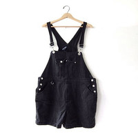 20% OFF SALE / 90s Bib Overalls jean shorts. black bibs shorts. Women's dungarees.