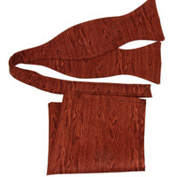 Men / Teen Cherry Wood Grain Self Tie Cotton Bow Tie (Velcro Adjustable) + Matching Pocket Square