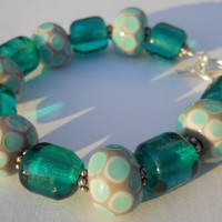 Lampwork Bead Bracelet in Turquoise and Gray by perlesdeverre