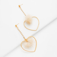 Heart & Pom Pom Design Drop Earrings -SheIn(Sheinside)