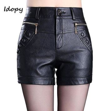 ESBON Idopy Fashion Womens PU Leather Sexy Shorts Side Zippers Skinny Fit Night Club Short Pants Black Red Shorts For Women